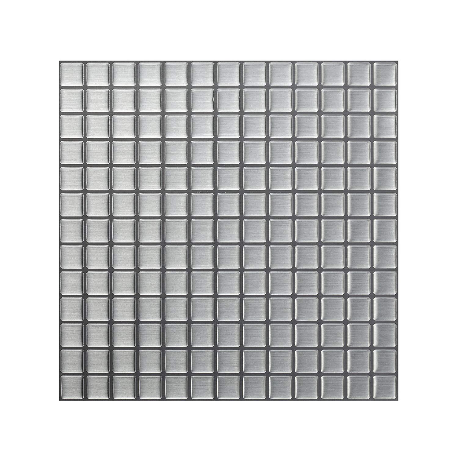 - Tic Tac Tiles_3D Peel And Stick Wall Tile_Stainless Square_W:30cm